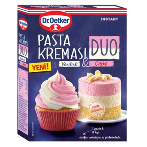 Dr.Oetker Duo Pasta Kreması Çilekli-Vanilin 136 Gr