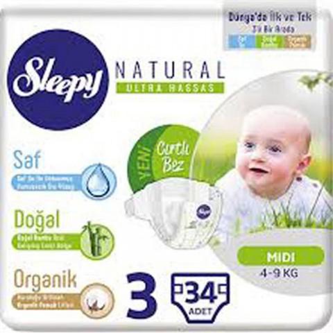 Sleepy Çocuk Bezi Midi Naturel No:3 34'lü